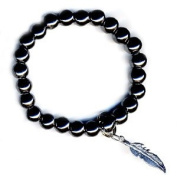 Art of Luck Hematite Feather Happiness Bracelet