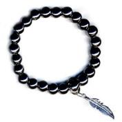 Art of Luck Hematite Feather Happiness Bracelet