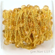 Wholesale Beautiful Citrine Faceted Rondel Beads with 24k gold Plated Chain