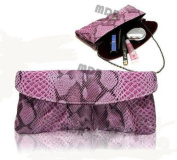 MDR Store Fashion Women's PU Clutch Evening Bag Purse Snakeskin Faux Leather Party Bag Shoulder Handbag Deep Pink