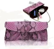 MDR Store Fashion Women's PU Clutch Evening Bag Purse Snakeskin Faux Leather Party Bag Shoulder Handbag Deep Pink
