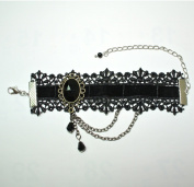 Black Gothic Goth Lolita Vampire Lace Ribbon Wristlet Bracelet with Chain