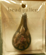 Bead Gallery 60x32mm Leaf W Amethyst Flower Glass Pendant