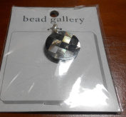 Bead Gallery 25MM Round Black Lip Shell Mosaic Pendant