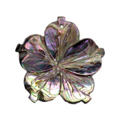 30MM ABALONE PINK CARVED SHELL FLOWER BEAD