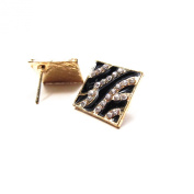 1 PAIR OF Zebra Patterned, Gold Trimmed Earring Studs