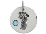 Sterling Silver Baby Feet Charm - Crystal March Birthstone