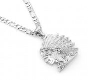 Hip-Hop Iced Silver Tone Indian Chief Pendant Necklace Free 60cm chain