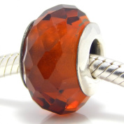 ".925 Sterling Silver ""Fascinating Amber Brown"" Murano Glass Charm for Snake Chain Charm Bracelets"