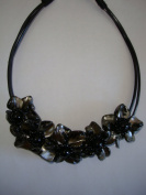 Flower Collar Necklace-Black
