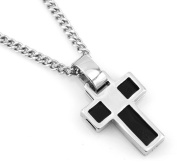 Hip-Hop Iced Silver - Black Tone Square Box Cross Pendant Necklace Free 60cm chain