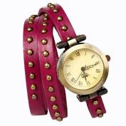 Retro Rivet Belt Style Rose PINK PULeather Band Fashion Watch