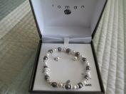 Roman Stretch Bracelet w/ Matching Earrings Pewter/Pearl
