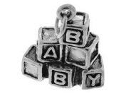 Sterling Silver Baby Wooden Blocks Charm