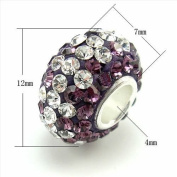 1Pcs 7x12mm CZ BEADS Hole 4mm Luxurious S925 Sterling Silver Pave Zircon Rondelle Big Hole European Jewellery Making Spacer Beads Findings