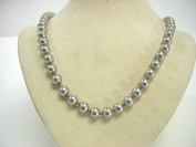 Victoria Creations Necklace 8mm Faux Grey Pearl Strand 18""