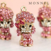 H373 Wholesale 3pcs Cute Crystal Pink Style Poodle Puppy Dog Charm Pendant