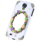 3D Flower Mirror Crystal Diamond White Case Cover for for Samsung Galaxy S4