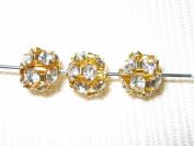 8 8mm. Rhinestone Filigree Balls Gold/Clear B802