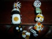 amber creme lampwork glass handmade loose jewellery beads