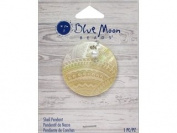 Blue Moon Beads ZP-001-00083 Shell Pendant with Engraved and Plastic Accent, Natural