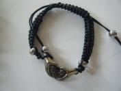 Bracelet , Amber Rhinestone Pave Heart in Hands Black Macrame Adjustable Bracelet