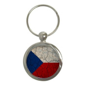Czech Republic Flag Crackled Design Round Keychain