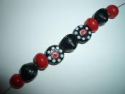 deco red black handmade lampwork glass jewellery beads set