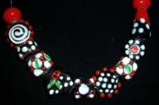 junesgems fancy red black lampwork glass jewellery making beads lot