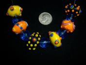 junesgems funky bumpy orange black sapphire crystal lampwork glass jewellery beads