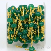 One Foot Wholesale Green Onyx Faceted Rondel Beads with 24k Gold Plated chain by foot