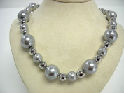 Victoria Creations 46cm Faux Grey Pearl & Silver Tone Bead Necklace