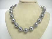 "Victoria Creations 18"" Strand 13mm Faux Grey Pearl Necklace"