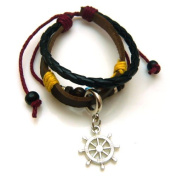 Wheel Design Braided Leather Bracelet with Wooden Beads