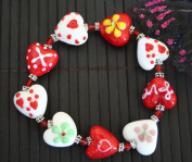 Valentine Heart(Yellow Fiori) Handmade Lampwork Glass Stretch Bracelet