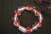 Valentine Clear Pink Heart(Arrow) Handmade Lampwork Glass Stretch Bracelet
