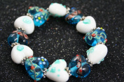 Valentine Blue Heart(With Deco) Handmade Lampwork Glass Stretch Bracelet