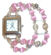 Awareness - Watch - Breast Cancer Awareness watch with Pink Beads