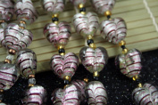 Valentine Silver Foil Heart(With Pink & Brown Stripes) Lampwork Glass Beads