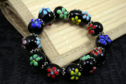 Spring Fiori Design Black Handmade Lampwork Glass Stretch Bracelet