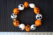 Halloween Theme Lampwork Glass Bead Stretch Bracelet
