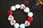 Valentine White Red Heart Handmade Lampwork Glass Stretch Bracelet