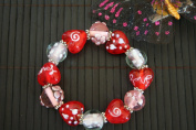 "Valentine Clear Red Heart With ""Love"" Handmade Lampwork Glass Stretch Bracelet"