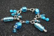Italian Design Wire Wrapped Silve Foil Blue Handmade Lampwork Glass Bracelet