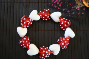 Valentine Red Heart With White Spots Handmade Lampwork Glass Stretch Bracelet