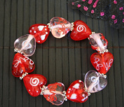 Valentine Clear Pink & Red Heart Handmade Lampwork Glass Stretch Bracelet