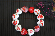 Valentine Cute Hearts Handmade Lampwork Glass Stretch Bracelet