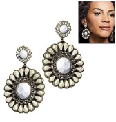 White Glam Drama Earrings By Avon