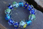 Spring Fiori Design Blue Handmade Lampwork Glass Stretch Bracelet