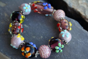 Spring Fiori Design Light Purple Handmade Lampwork Glass Stretch Bracelet